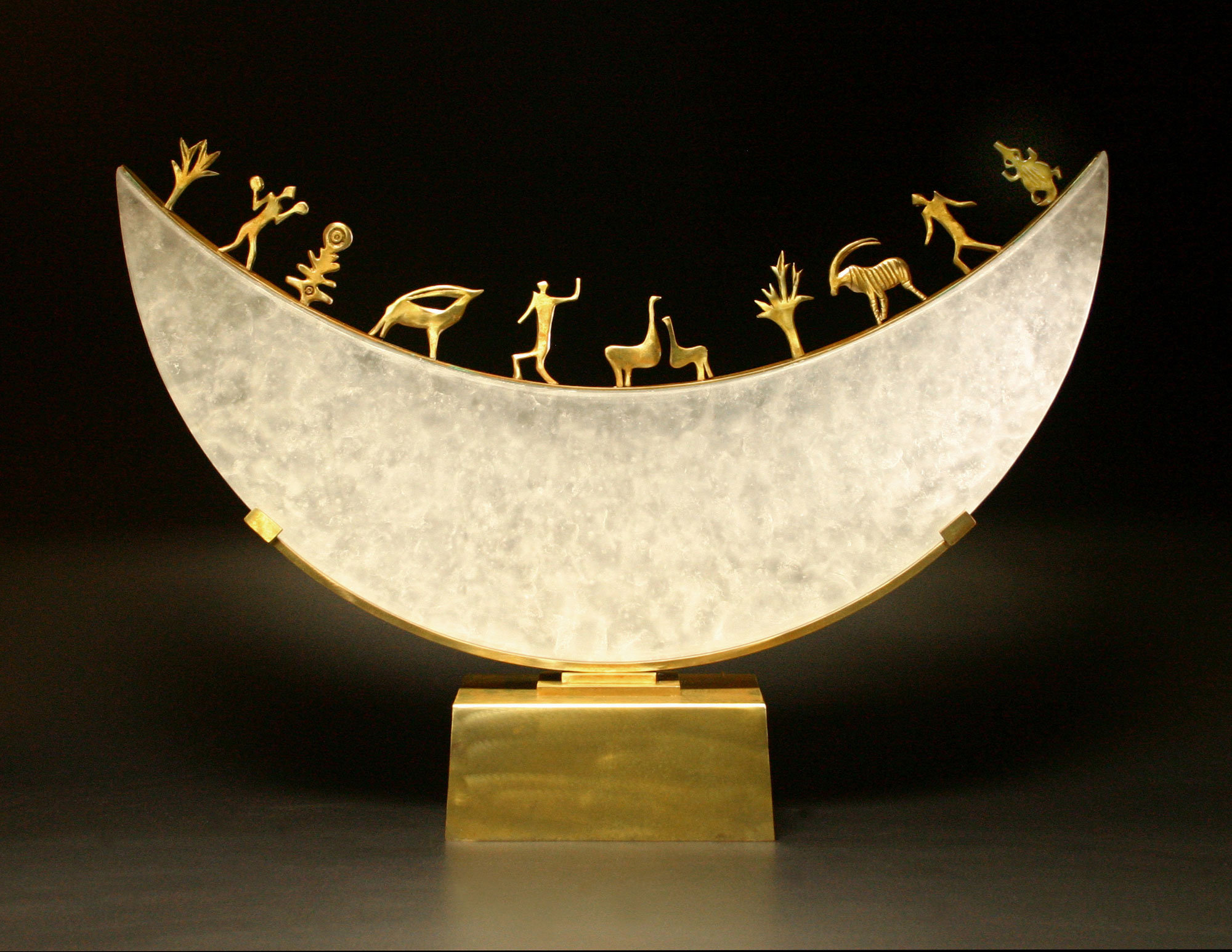 Glass Moon Sculpture By Georgia Pozycinski And Joseph