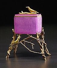 Crow Box: Purple by Georgia Pozycinski and Joseph Pozycinski (Art Glass & Bronze Sculpture)