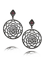 Metropolitan Large Rosettes by Diana Widman (Silver & Stone Earrings)