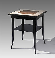 Linen End Table with Shelf by Michael McClatchy (Concrete & Steel End Table)