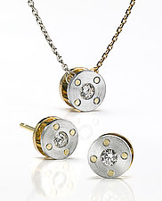 Riveted Set by Catherine Iskiw (Platinum, Gold, & Stone Pendant & Earrings)