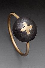 Cross Ring by Peg Fetter (Gold & Steel Ring)