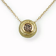 Round Pendant with Brown Diamond by Keiko Mita (Gold & Stone Pendant)