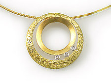 Double Circle Pendant by Keiko Mita (Gold & Stone Pendant)