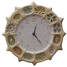 Wheel of Life Ceramic Wall Clock in Cream and White by Beth Sherman (Ceramic Clock)