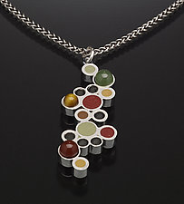 Bubbles Pendant by Susan Kinzig (Silver, Stone & Polymer Clay Necklace)