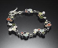 Bubbles Bracelet by Susan Kinzig (Silver, Jade, Pearl & Polymer Clay Bracelet)