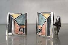 Architect Cuff Links No. 423 by Carly Wright (Enameled Cufflinks)