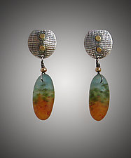 Drop Pod Earring by Carol Martin (Art Glass, Gold & Silver Earrings)