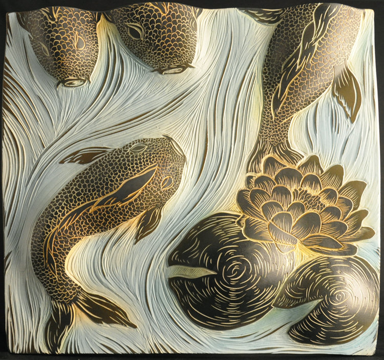 Koi And Lily Pads By Natalie Blake Ceramic Wall Sculpture