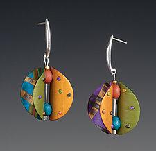 Wings Round Multi-Color Earrings by Arden Bardol (Polymer Clay Earrings)