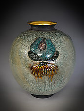 Kashigata - Golden Pomegranate by Tom Neugebauer (Ceramic Vase)