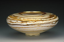 Ivory Strata Bowl by Danielle Blade and Stephen Gartner (Art Glass Vessel)