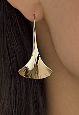 Ginkgo Drop Earrings by Stephen LeBlanc (Gold or Silver Earrings)