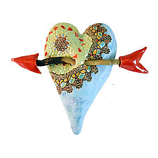 Lucita's New Shawl by Laurie Pollpeter Eskenazi (Ceramic Wall Sculpture)