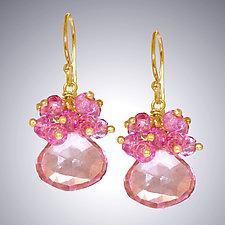 Pink Quartz Earrings II by Judy Bliss (Gold & Stone Earrings)