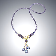 Blue Quartz Cluster Necklace by Judy Bliss (Gold & Stone Necklace)