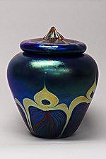 Lidded Vessel (Blue Peacock) by Carl Radke (Art Glass Jar)