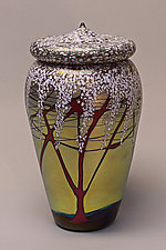 Lidded Vessel (Cherry Blossom) by Carl Radke (Art Glass Jar)