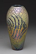 Large Pompeii Fish Bone Vase by Carl Radke (Art Glass Vase)