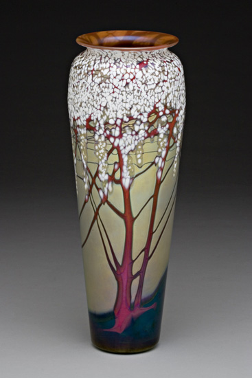 Large Gold Cherry Blossom Vase By Carl Radke Art Glass