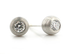 Duality Stud: Platinum and Diamond by Catherine Iskiw (Platinum and Stone Earrings)