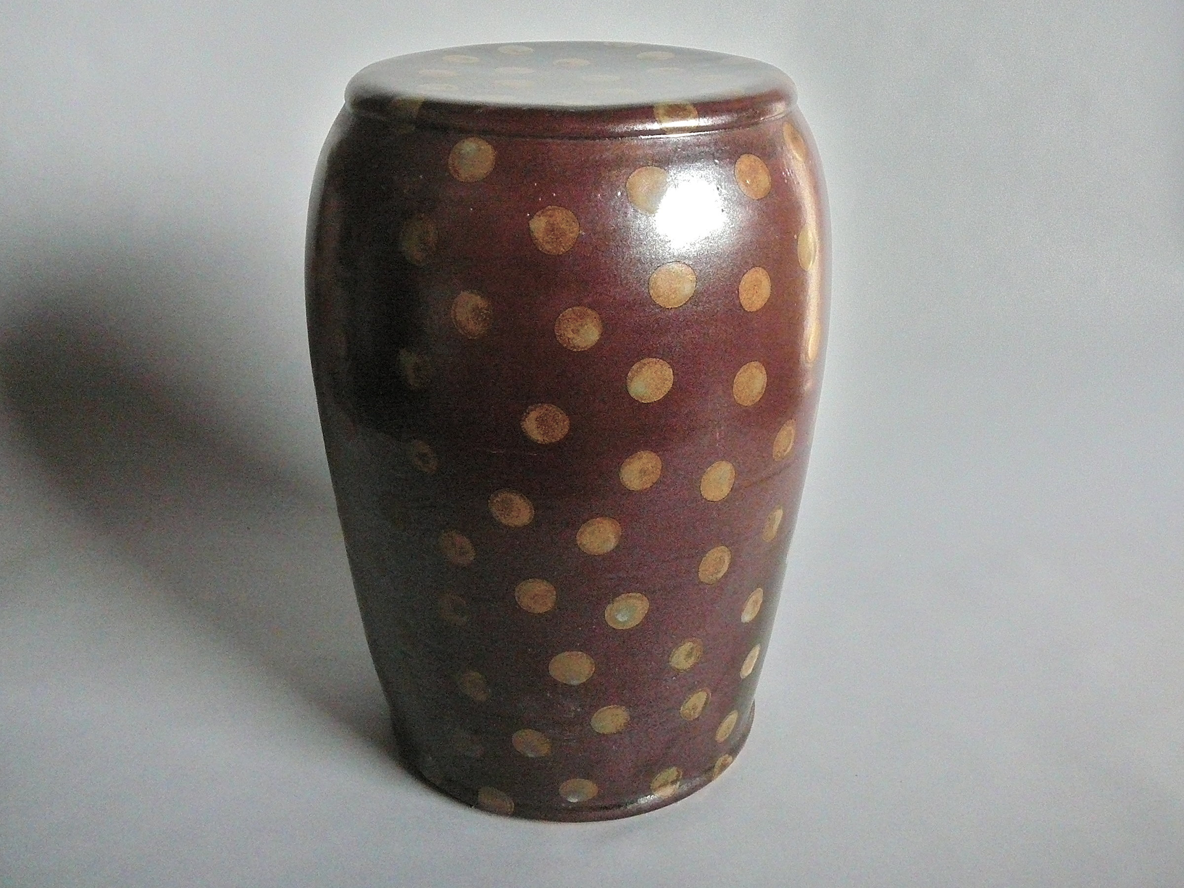 Garden Stool Temmoku Glaze And Small Gold Polka Dots By