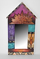 Pink Birdhouse Mirror by Wendy Grossman (Wood Mirror)