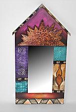 Pink Birdhouse Mirror by Wendy Grossman (Wood Mirror)