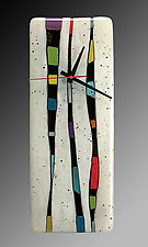 Fragments - Vertical Wall Clock by Nina  Cambron (Art Glass Clock)