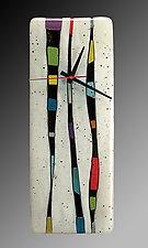 Fragments - Vertical Wall Clock by Nina  Cambron (Art Glass Clock)