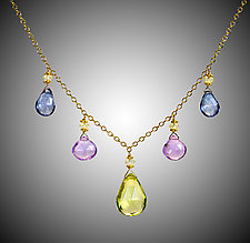 Lemon Quartz, Pink Amethyst, and Blue Quartz by Judy Bliss (Gold & Stone Necklace)