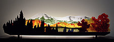 Early Snow on Mt. Katahdin by Bernie Huebner and Lucie Boucher (Art Glass Sculpture)