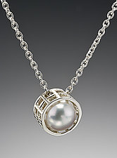 Silver Caged Pearl Pendant by Marie Scarpa (Gold & Pearl Pendant)