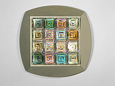 Magic Squares: Silver by Rene Culler (Art Glass Wall Sculpture)