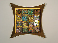 Magic Squares: Gold by Rene Culler (Art Glass Wall Sculpture)