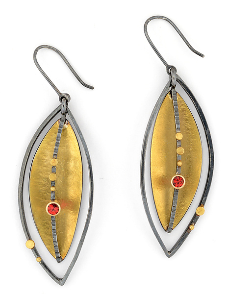 Silver Lake Earrings with Red Sapphires