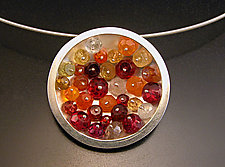 Geode Necklace: Orange and Red by Ashka Dymel (Silver and Stone Pendant)