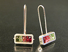 Horizontal Rectangle Earrings by Ashka Dymel (Silver & Stone Earrings)