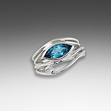 Silver and Blue Topaz East West Ring by Suzanne Q Evon (Silver & Stone Ring)