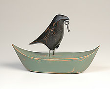 Raven on Boat by Mark Orr (Wood Sculpture)