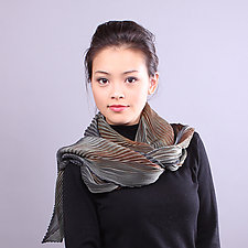 Shibori Shawl in Earth Tones by Min Chiu  and Sharon Wang  (Silk Scarf)