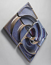 Double Wave Wall Tile Composition by Sara Baker (Ceramic Wall Sculpture)
