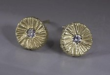Small Dig Earring Round with Diamond by Dahlia Kanner (Gold or Silver & Stone Earrings)