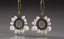 Round Pearl Framed Earrings by Dahlia Kanner (Gold, Silver, & Pearl Earrings)