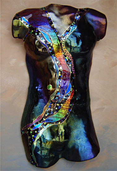Tourmaline Moon Male Figure By Karen Ehart Art Glass