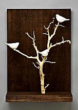 Birds in Trees - Small by Chris  Stiles (Ceramic & Wood Wall Sculpture)