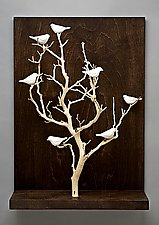 Birds in Trees - Medium by Chris  Stiles (Ceramic & Wood Wall Sculpture)