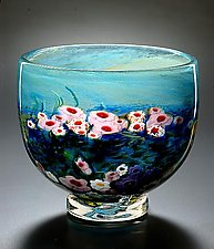 Landscape Series Footed Bowl Opal by Shawn Messenger (Art Glass Bowl)