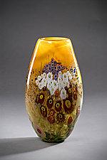 Landscape Series Vase Tangerine tall by Shawn Messenger (Art Glass Vase)